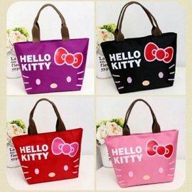 Hello Kitty小巧秀氣貓臉蝴蝶結便當袋 手提袋 肩背包     109元