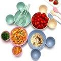 小麥環保餐具組 糖果色系小熊碗  健康又環保 兒童餐具  餐具組合