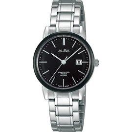 ALBA Lady 日系時尚腕錶-黑x銀/28mm ,VJ22-X177D(AH7E67X1)