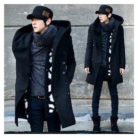 2015秋裝潮男裝中長款大衣男士 雙排扣加厚連帽呢風衣男款外套