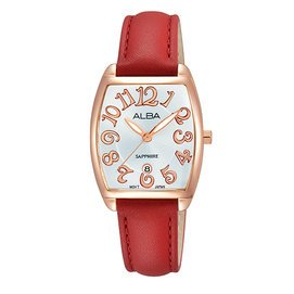 ALBA雅柏 簡約大三針酒桶型女用皮帶腕錶/25mm/VJ22-X235U