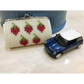 草莓零錢包 錢包 手拿包 純 製作 皮夾 背包 條紋零錢包 皮包 手作包 純 製作 珠珠包
