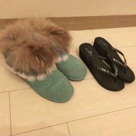 湖水綠毛毛雪靴 25 40碼 100元