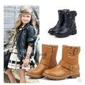 歐美女童牛皮中筒靴兒童真皮側拉鏈機車靴小童馬丁靴皮靴親子靴子