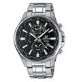【CASIO。EDIFICE】世界地圖前衛三眼腕錶-黑面鋼(EFR-304D-1)免運費