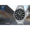 ☆【CASIO。EDIFICE】世界地圖前衛三眼腕錶-黑面鋼(EFR-304D-1)免運費