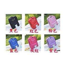 帆布簡約後背包雙肩包女 學院風貓咪大學生日韓百搭兩用書包