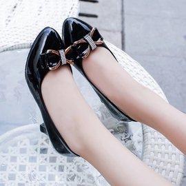 蝴蝶結水鑽 尖頭 小粗跟 高跟鞋