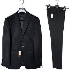 COMME CA MEN 羊毛黑色條紋雙扣成套西裝外套西裝褲44窄版S號ISM DIOR