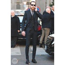 COMME CA ISM MEN黑色條紋三件式窄版成套西裝外套西裝褲HUGO BOSS t