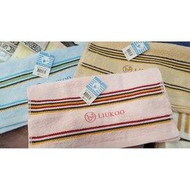~整打最 ~詠漢精緻毛巾~ LK671 LIUKOO煙斗牌32兩 ~三色緞系列~素色橫紋 毛巾
