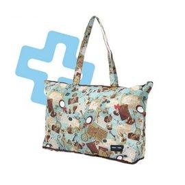 陽光角落~EUS13~HAPI+TAS水藍幻鏡折疊購物袋旅行袋 購物袋 可背可掛可插套行李箱拉桿 行李箱插袋