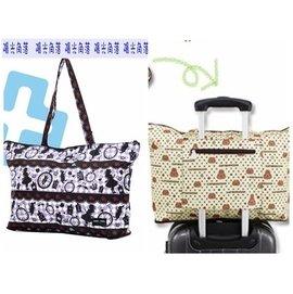 陽光角落~FEU07~HAPI+TAS 愛麗絲花朵折疊購物袋旅行袋 購物袋 可背可掛可插套行李箱拉桿 行李箱插袋