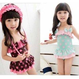 《貓love媚》兒童波點公主連體裙式游泳衣寶寶女童泳裝 泳帽 兒童泳衣 二色
