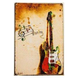 ~鐵板畫倉庫~電吉他LOFT美式工業風復古風咖啡廳早午餐廳民宿裝潢裝飾壁畫掛畫鐵版畫鐵皮畫