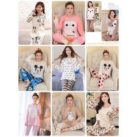 大量 即日出貨 秋 牛奶絲睡衣睡裙女士 家居服睡衣套裝可愛居家服 兩件式套裝 L~XXL