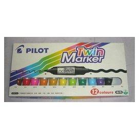 ~PILOT百樂~雙頭麥克筆~油性 粗  11色入 盒 少一隻藍色 .....MFN~15FB~12C奇異筆_油性筆