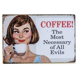 ~鐵板畫倉庫~ 標語COFFEE咖啡二戰手繪廣告女郎 海報工業風復古風壁畫咖啡廳餐廳裝飾鐵皮畫鐵版畫鐵牌畫F168