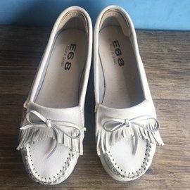 ( )莫卡辛內增高娃娃鞋平底鞋包鞋白色流蘇4公分24號