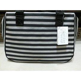 agnes'b VOYAGE黑白條紋雙槓旅行袋