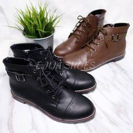MIT金屬釦環免綁鞋帶拉鍊短靴 軍靴