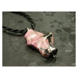 ~天然玫瑰石項鍊~典雅玫瑰般色澤 有著潑墨山水畫般紋路 項鍊 編號03