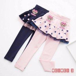 可愛熊熊假兩件點點蕾絲褲裙 內搭褲 5~15 粉色 寶藍色