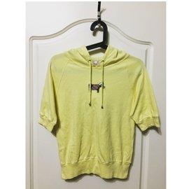 少女服飾品牌 Scottish house 狗狗牌  專櫃 100% 學院風格紋 黃色連帽短袖T恤 上衣帽T M