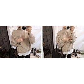 韓國純色衛衣女士 小高領寬松加厚衛衣棒球服學生外套