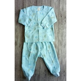 套裝睡衣 棉質 圓領 卡通滿版小熊 空氣棉款 藍 粉