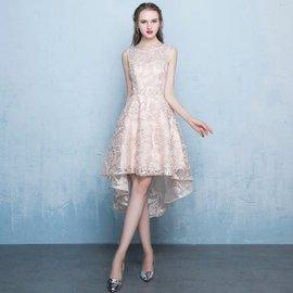 天使佳人婚紗禮服旗袍~~金色晚禮服前短後長