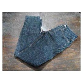 ~唐尼雜物箱~NET素面厚磅合身牛仔長褲 深藍色30號