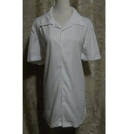 ~麗麗ㄉ大碼舖~大尺寸S~L 42~46吋 水藍 白色條紋布前扣式V領短袖彈性襯衫~