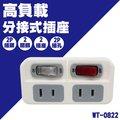 威電 WT-0822 高負載 分接式插座 2插座 2開關 分接式 電源 插座 獨立開關 2開2插 CNS標準耐熱材質