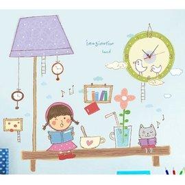 BO雜貨【YV0609】創意可移動 時鐘壁貼 兒童房教室佈置 童趣 燈下書桌小精靈 檯燈女孩SA-2-004W