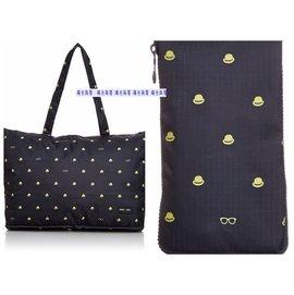 陽光角落~FEU02~HAPI+TAS深藍小黃帽折疊購物袋可插行李箱旅行袋 購物袋 可背可掛可插套行李箱拉桿 行李箱插袋