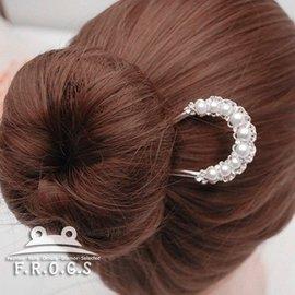 F.R.O.G.S F0079純珍珠優雅 U型簪新娘 髮叉髮梳髮簪髮飾髮釵 現 預