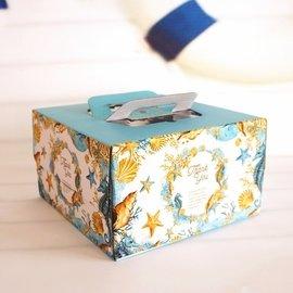 8寸海洋生日蛋糕盒手提<font color=\'red\'>奶油</font>蛋糕盒慕斯芝士裱花千層加厚蛋糕<font color=\'red\'>盒子</font> #1024(50元)