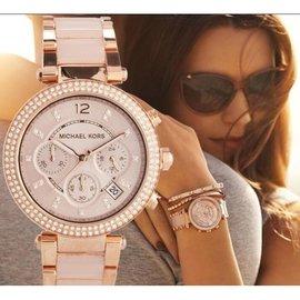 【嗅嗅】MK手錶 Michael Kors 正品美國直郵MK手錶女士鑲鑽粉色膠間時尚潮流手錶三眼女錶mk5896