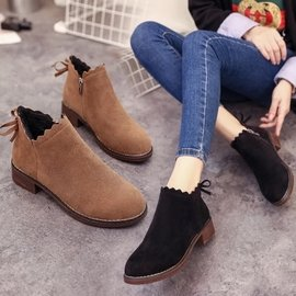 馬丁靴 女生平底靴 平底鞋 短靴 單靴 黑色 棕色 尖頭皮鞋 粗跟 蝴蝶結鞋子 短筒踝靴