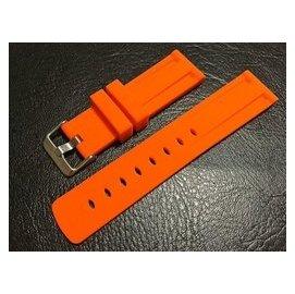20mm橘色silicone strap高質感矽膠錶帶替代hamilton seiko citizen雙凹溝紋