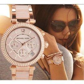 MK手錶 Michael Kors 正品美國直郵MK手錶女士鑲鑽粉色膠間時尚潮流手錶三眼女錶mk5896