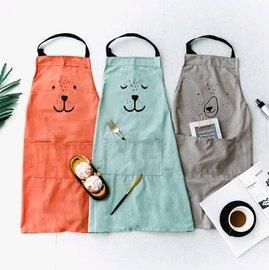 ~銅板屋~~ ~3款  大人  日式 棉麻 親子 動物 圍裙 工作服 烘焙 畫衣 卡通 純色 文青 可愛 文藝 北歐