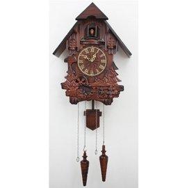 好運來~歐式布谷鳥掛鐘光控報時 實木 雕刻 客廳咕咕鐘表壁掛木鐘