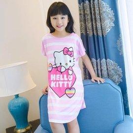 牛奶絲兒童卡通短袖睡裙 睡衣 套裝 舒適薄款 小孩女孩中大童 家居服