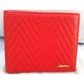 真皮大紅V型紋女用短夾 兩折短夾 對摺短夾 可放大鈔 證件 信用卡