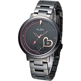 ALBA 浪漫心語美少女時尚腕錶(AG8361X1)-IP黑/38mm