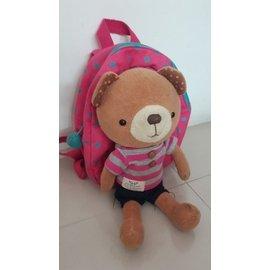 韓國正品 WingHouse 熊熊玩偶 雙肩防走失背包