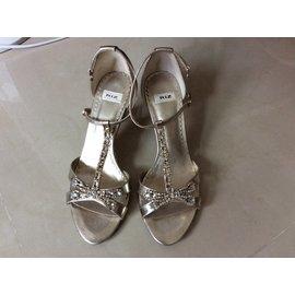 專櫃金色T字型水鑽高跟涼鞋 size:35