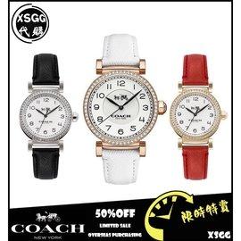 COACH 女錶 手錶 腕錶 數字石英錶 帶鑽 皮質錶帶 禮物